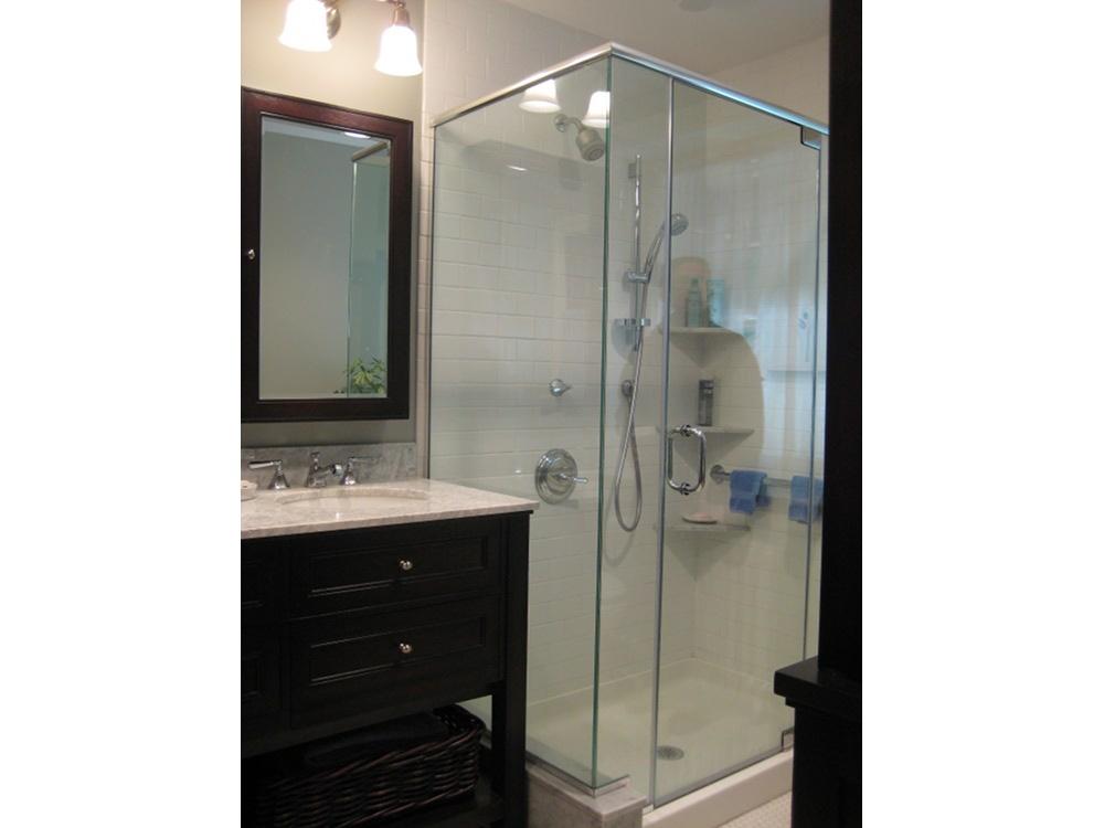 Mt. Airy Bathroom -- Double Sinks & Dark Wood